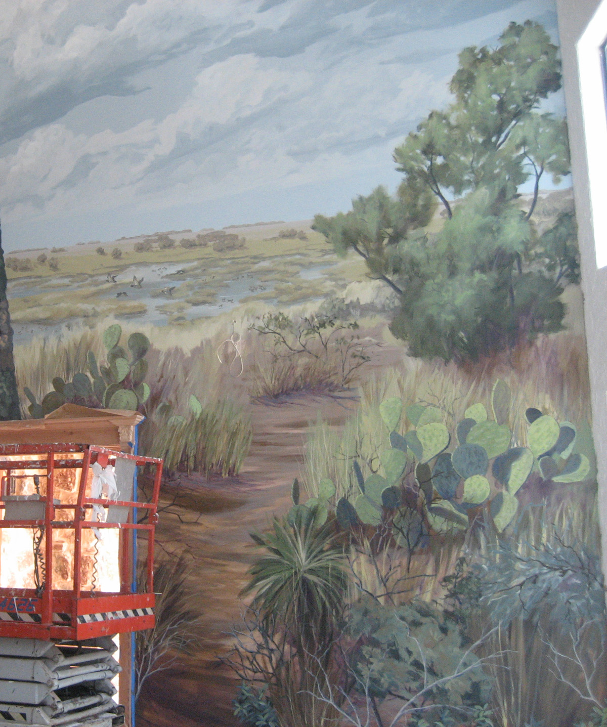 mural of south texas landscape in dallas home